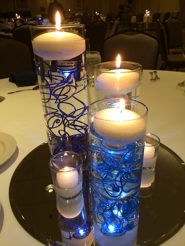 Blue Centerpieces Cylinder Vases With Led Lighting Funky