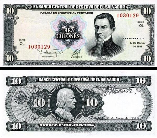 10 Colones Salvádor 1988, P135b