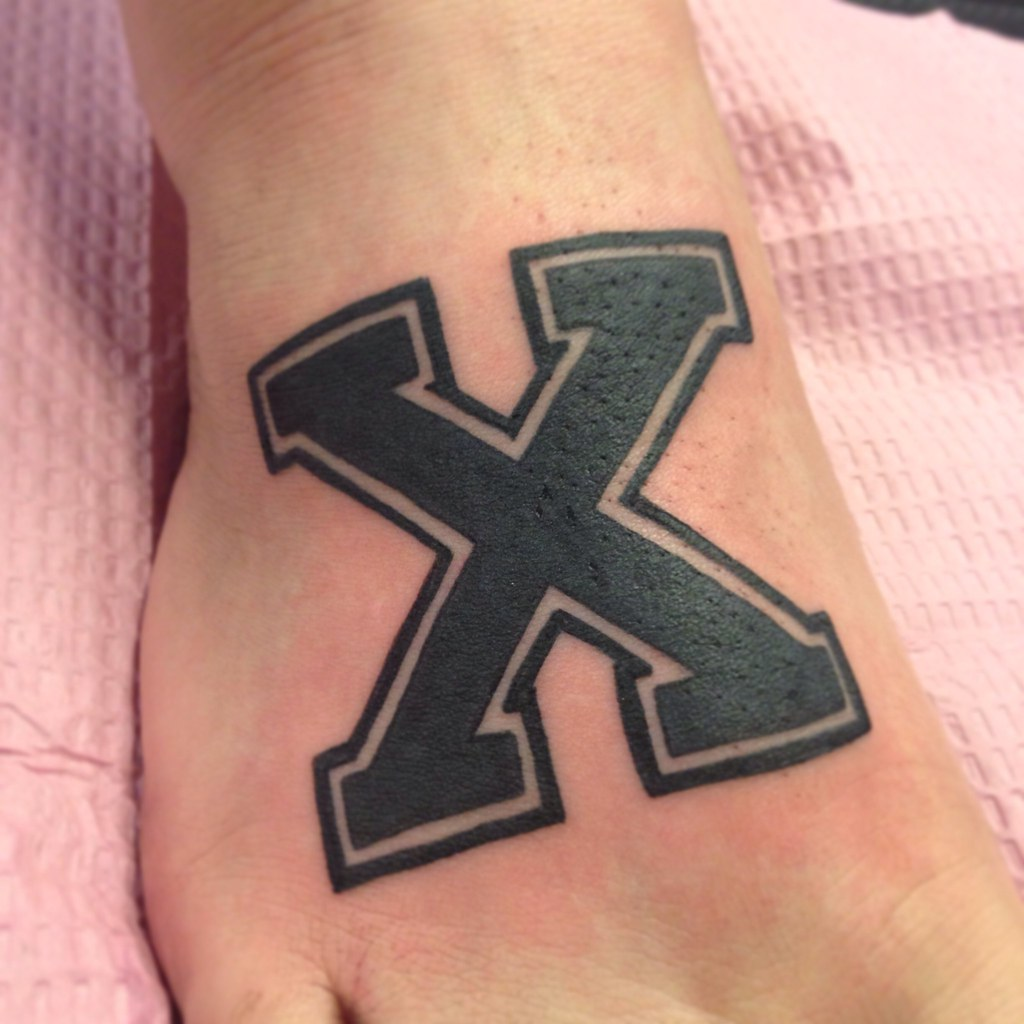 Straightedge X Foot Tattoo By Wes Fortier Burning Hearts Flickr