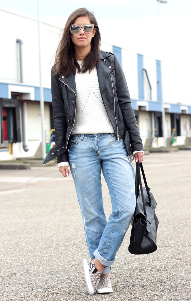 Outfit Boyfriend Jeans Black Leather Jacket Jpg Shout Out To You