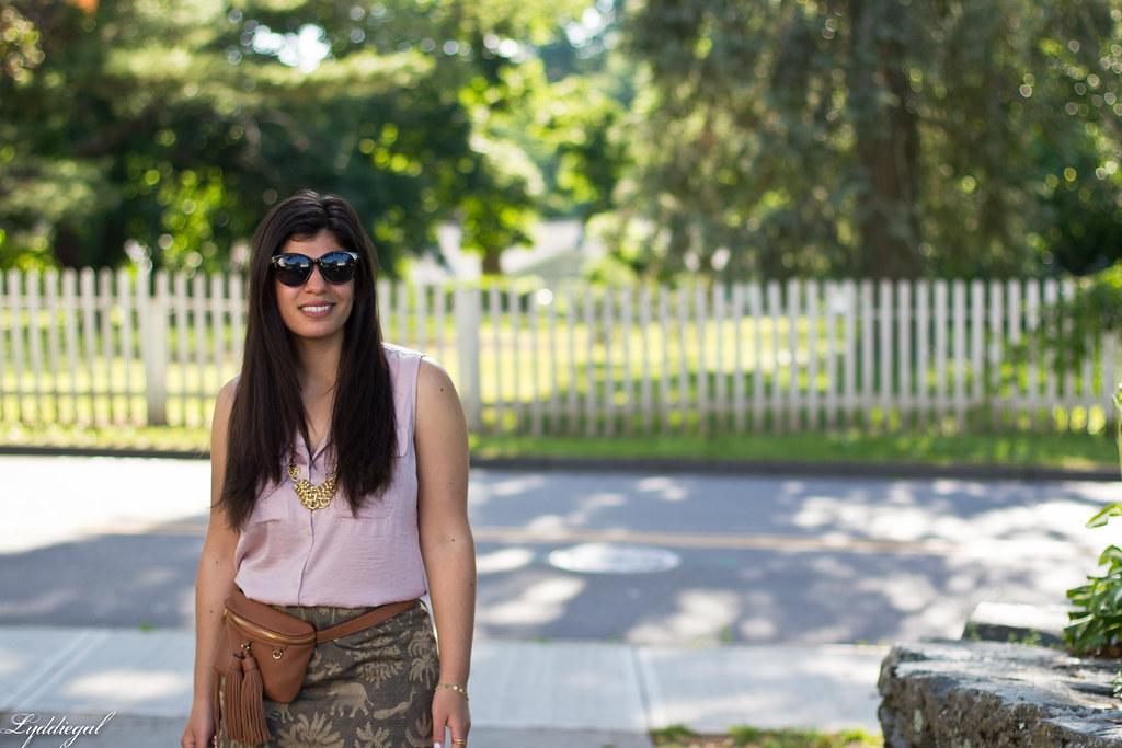 elephant print skirt, pink blouse, tassel waist bag-2.jpg