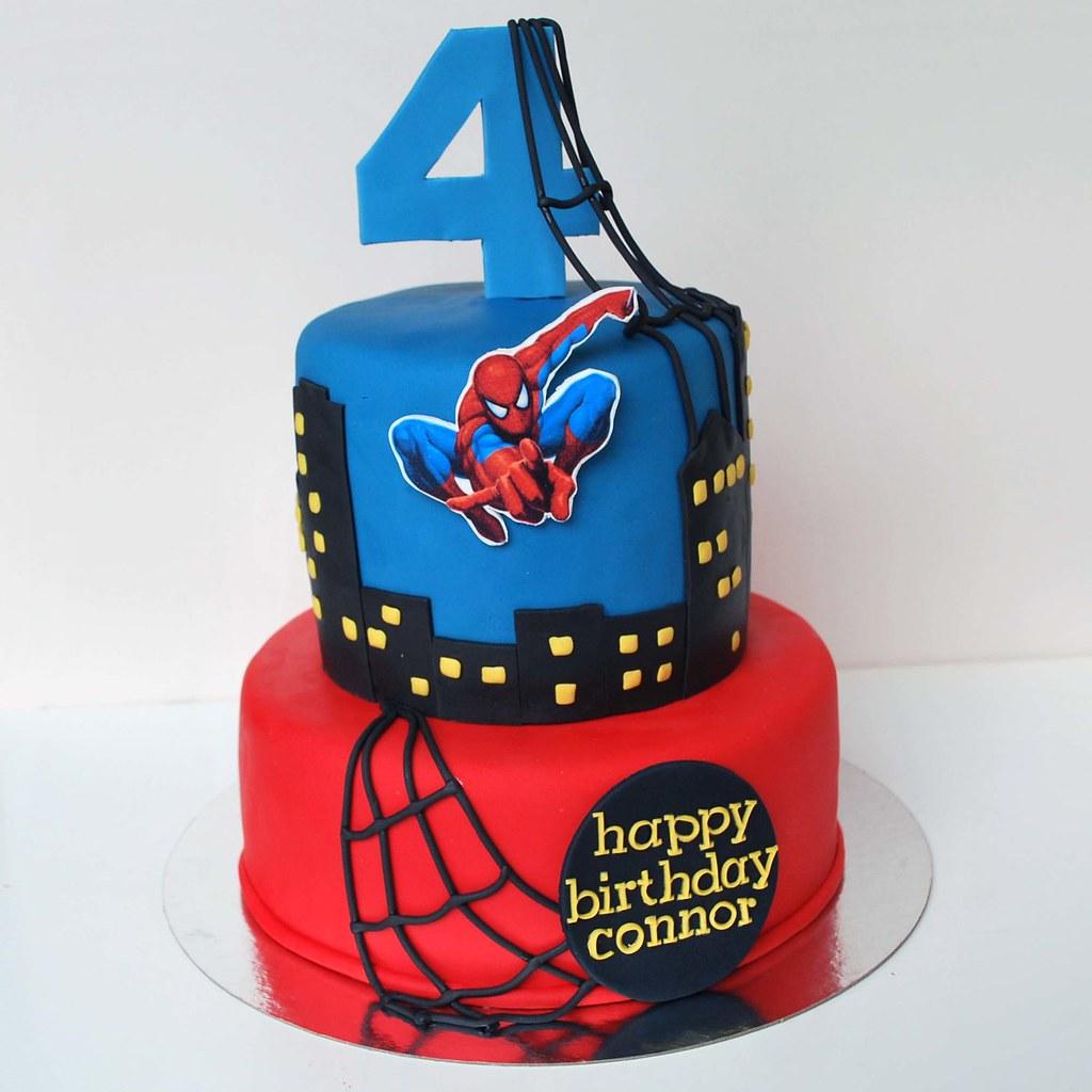 Spiderman Cake Chocolate sponge cake filled with strawberr Flickr