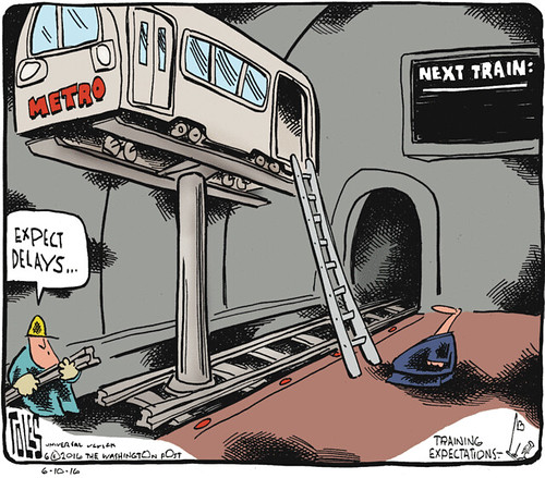 Tom Toles editorial cartoon, 6/10/2016, WMATA/Metrorail failure