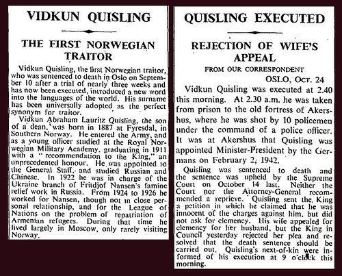 24th October 1945 - Vidkun Quisling executed | by Bradford Timeline
