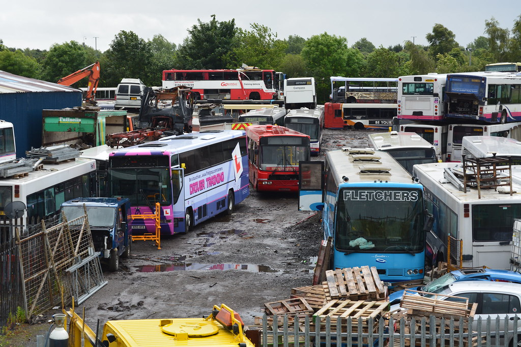 Alpha Recovery Scrap Yard | A line-up of Buses from various … | Flickr