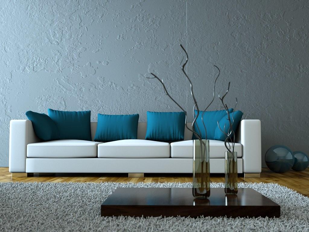 Wohnzimmer grau blau  Modernes Wohnzimmer grau blau | Foto Miki | Flickr