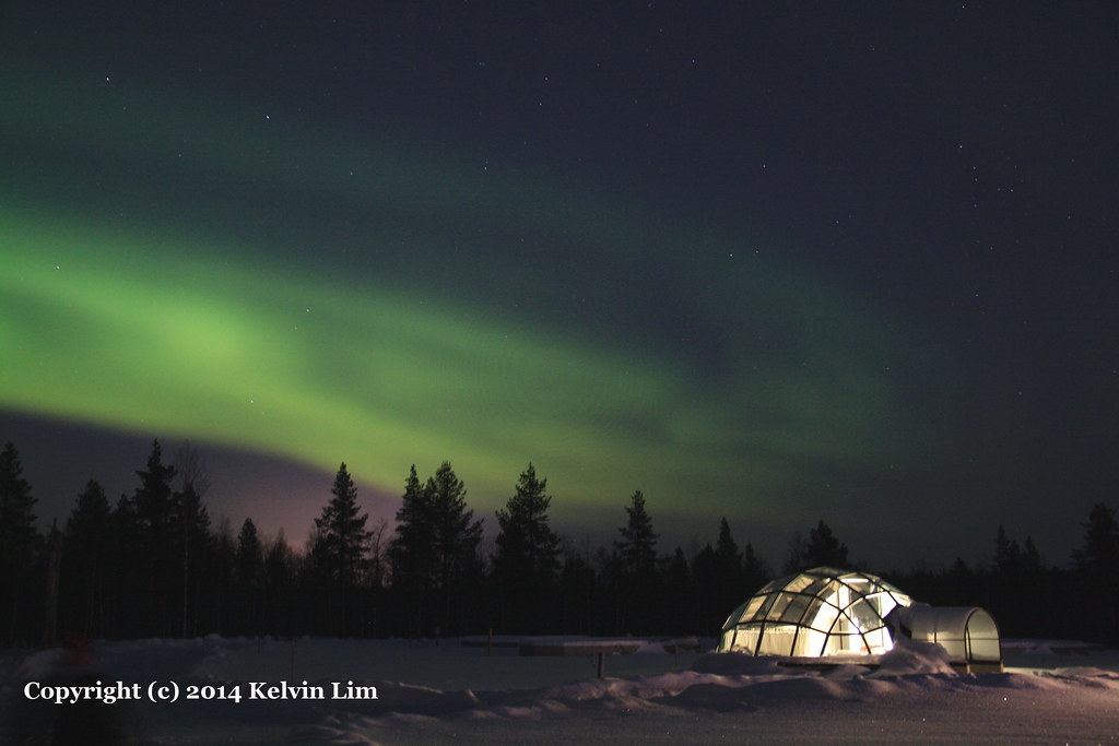 Aurora Borealis at the Glass Igloo Hotel in Kakslauttanen, Finland