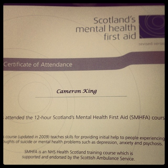Scottish Mental Health First Aid Certificate Weekend Put Flickr