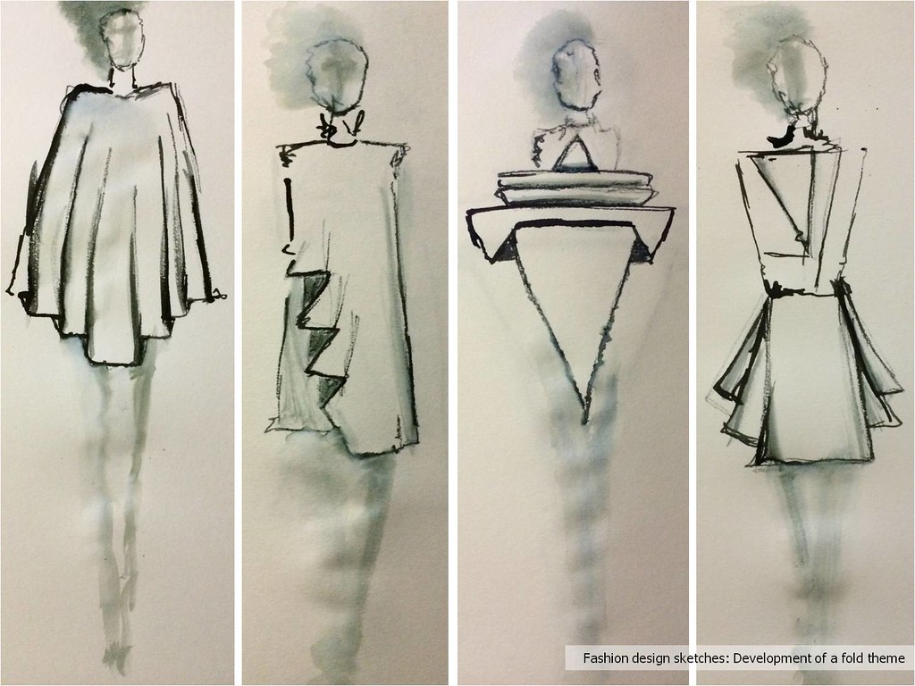 Fashion design sketches: Development of a fold theme [CSM]… | Flickr