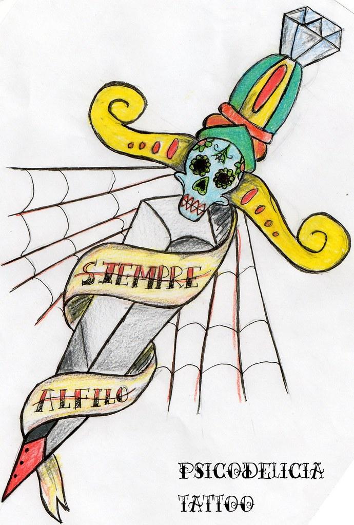 Diseño Daga Old School Siempre Al Filo Psicodelicia Tattoo