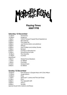 MMF1998 Playing Times | by Aunty Meredith