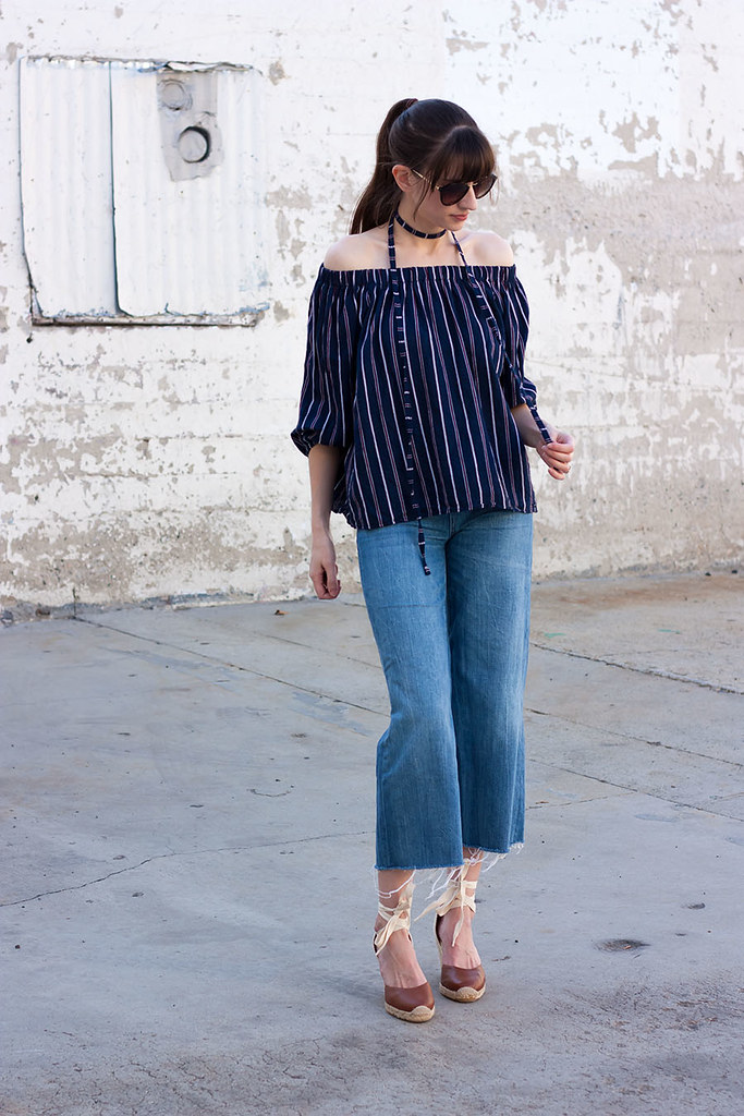 Storets Top, Striped OTS top, Denim Wide Leg Pants, Culottes, Lace Up Wedges, Soludos