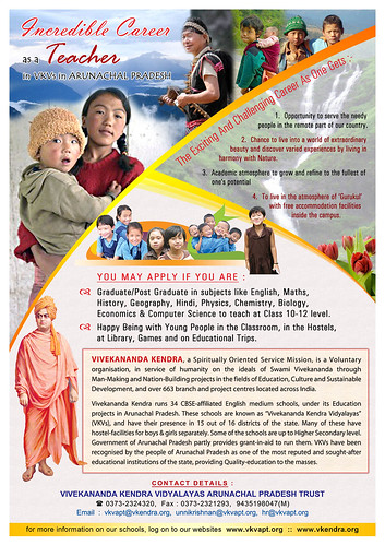 Join as Teacher at VKV Arunachal Pradesh | by Vivekananda Kendra