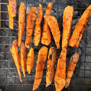 Grilled sweet potato spears with maple syrup and mustard glaze #food | by stevendepolo