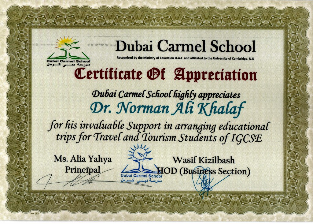 Certificate of appreciation from dubai carmel school to dr flickr certificate of appreciation from dubai carmel school to dr norman ali khalaf for his volunteering yelopaper Choice Image