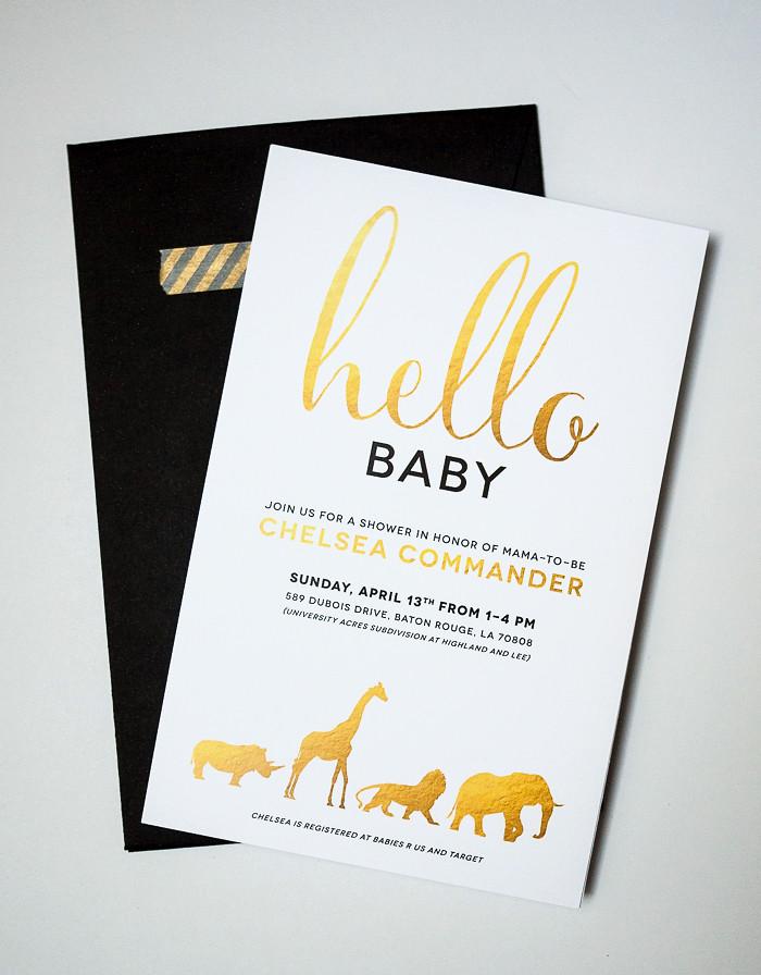 gold and white safari animal baby shower invitation flickr