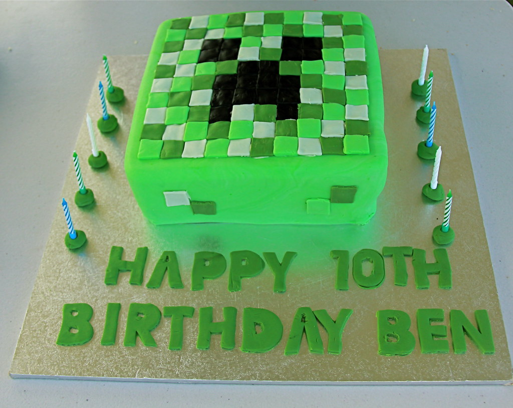 Minecraft Birthday Cake My son requested a Creeper Minecra Flickr