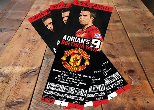 manchester united invitation ticket birthday party minnie