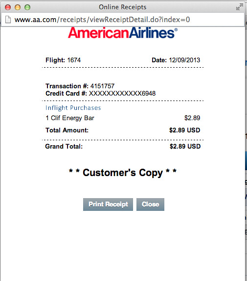 receipt for an inflight purchase screenshot from american flickr