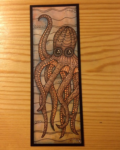 octopus corner bookmarks zentangled octopus bookmark with pen and colored 2566