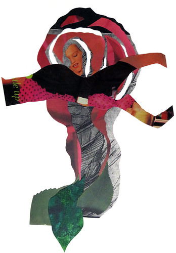 Magazine collage of a Flamenco dancer combined with a rose