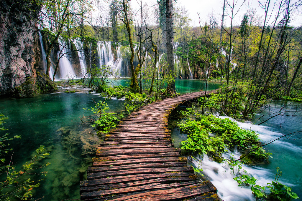 Plitvice Lakes Croatia Waterfall Walkway by Michael Matti