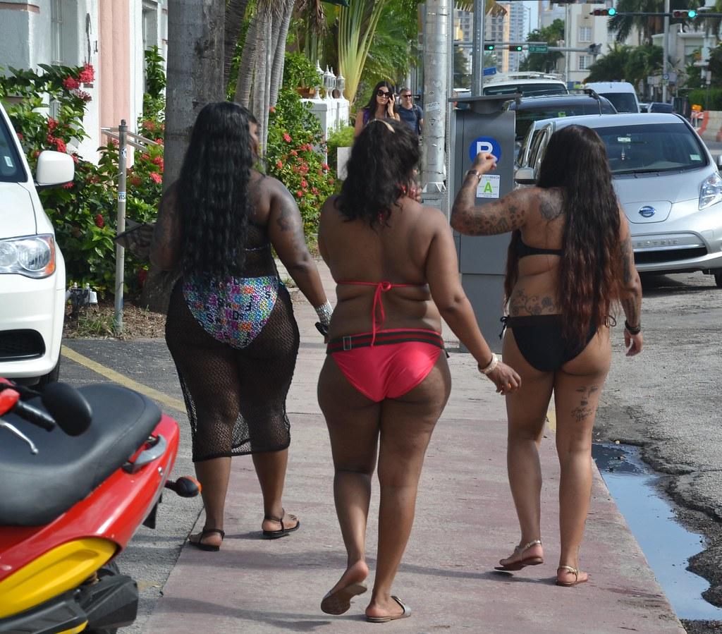 three big girls in cheeky bottom bikinis miami swim week | flickr