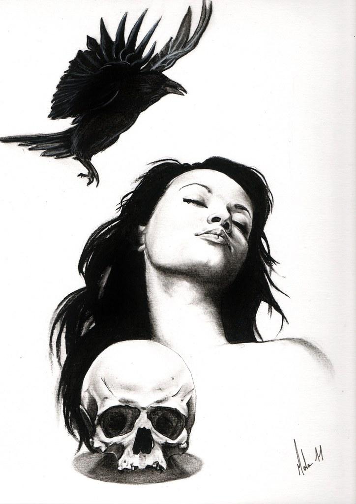 Dessin De Femme Crane Corbeau Realiste Noir Et Blanc Flickr