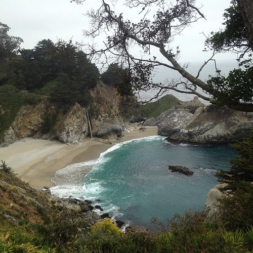 Mcway Falls At Julia Pfeiffer Burns State Park On An Overc