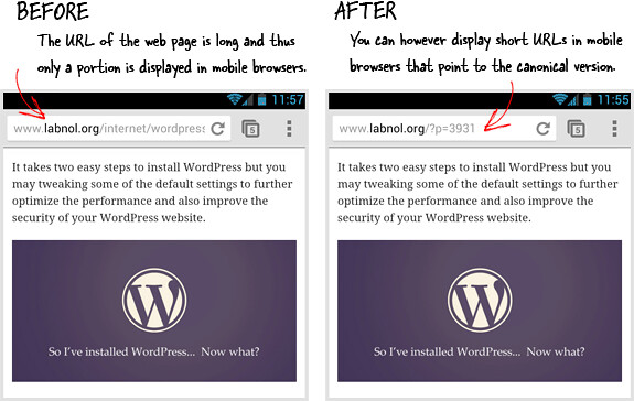 ... Display Short URLs of your Web Pages on Mobile Devices - by labnol