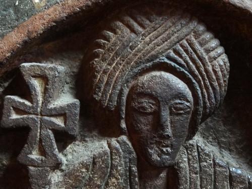 Carved figure of saint bet golgotha rock hewn church l
