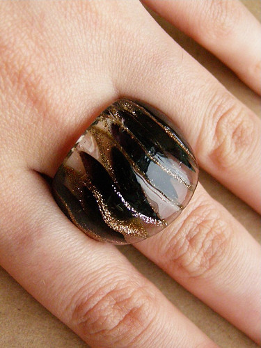 Glass ring. Murano glass - burgundy and gold | by Lady_Agata