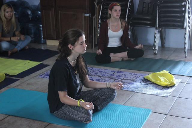 Teens during Yoga sober activities