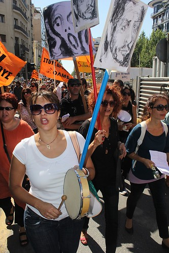 Striking Greek teachers on the streets of Thessaloniki carry picture of Pavlos Fyssas - Greece | by Teacher Dude's BBQ