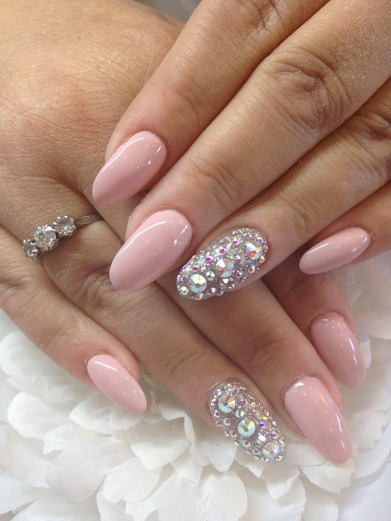 Gel 38 over acrylic almond nails with Swarovski crystal ri…   Flickr