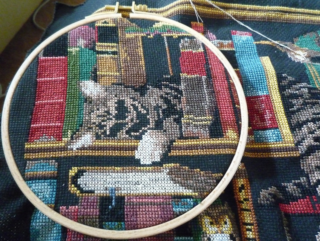 Cross-stitch progress:  zombie kitty will eat your face