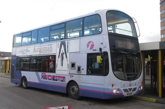 Volvo B9TL First Greater Manchester, MX58 EBG, Ashton-under-Lyne bus station