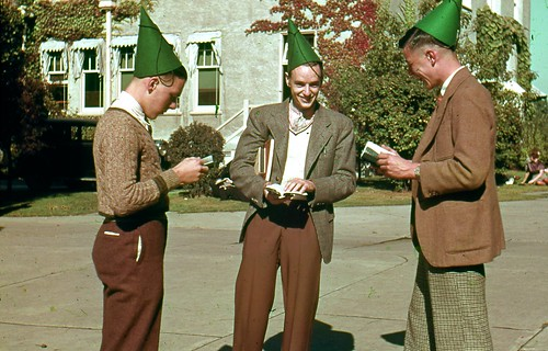Freshmen in green dunce caps September 1938 | by ubcarchives