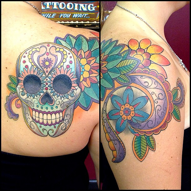 Finished This Sugar Skull Shoulder Tattoo A Couple Weeks A Flickr