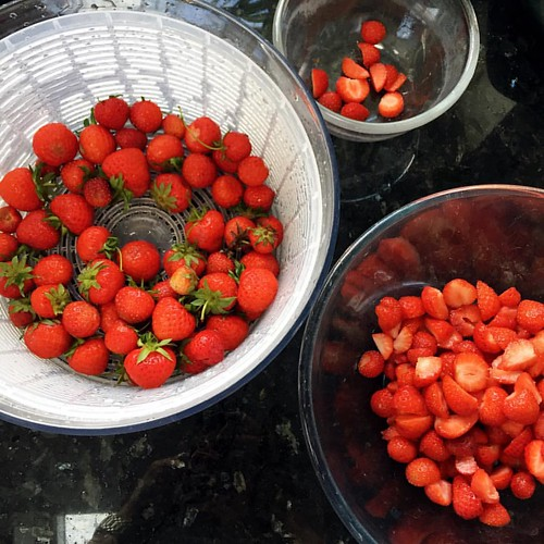 Finally dealing with the strawberry glut. Jam and some put aside for shortcakes for pudding. | by louise_using_spoons