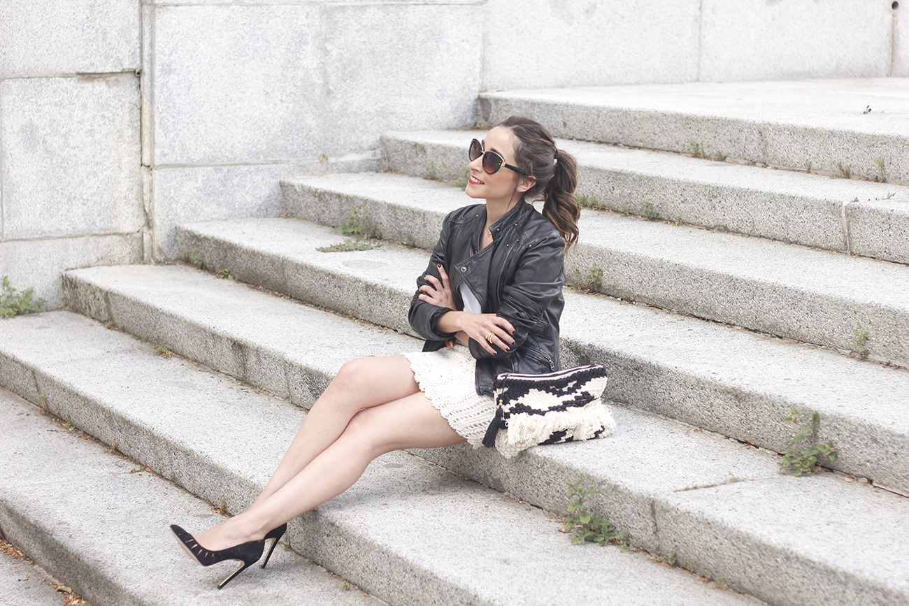 crochet skirt leather jacket black heels sunnies spring outfit style02
