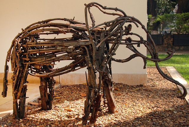 This elephant sculpture is part of an exhibit called 'Turning Weapons into Art' in Siem Reap