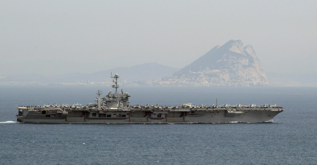 Image result for pictures of uss truman crossing the Gibraltar rock