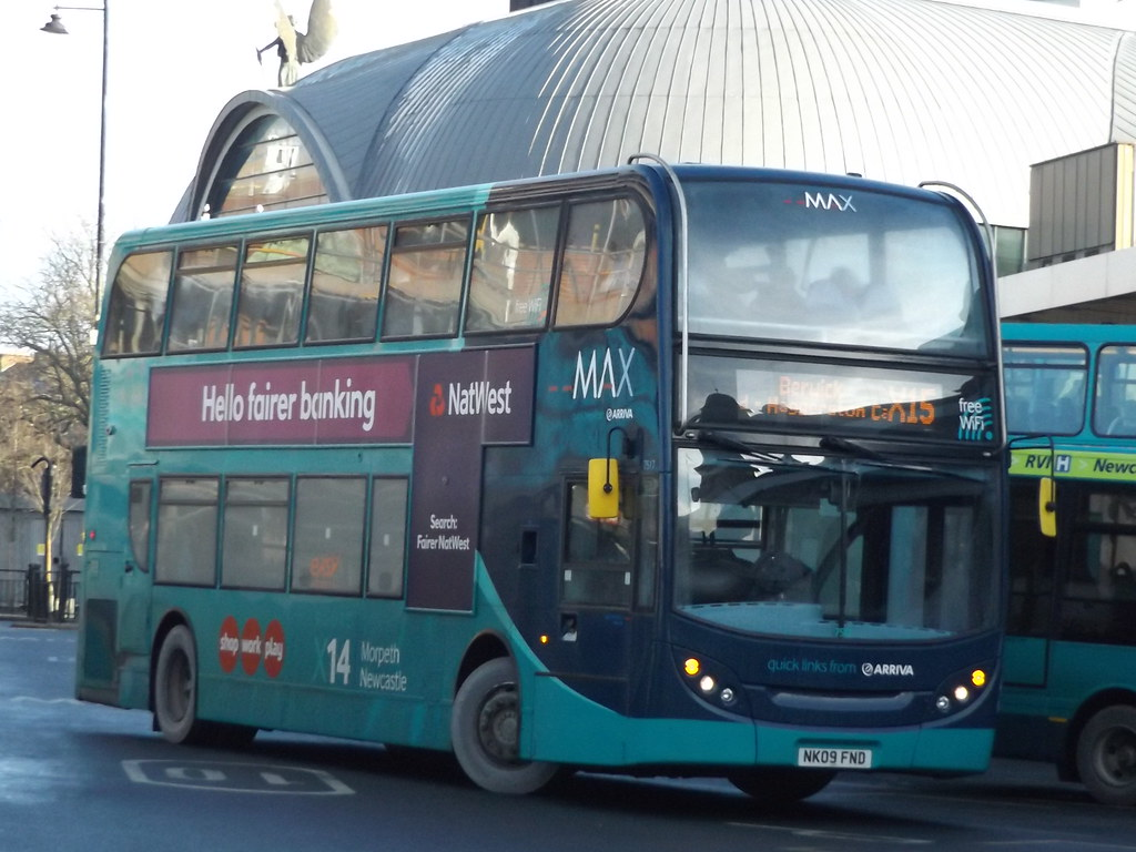 ... Newcastle Arriva North East MAX Enviro 400 NK09FND 7517 is seen at  Haymarket Bus Station, Newcastle