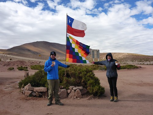 Us with the Chilean and Wiphala flags