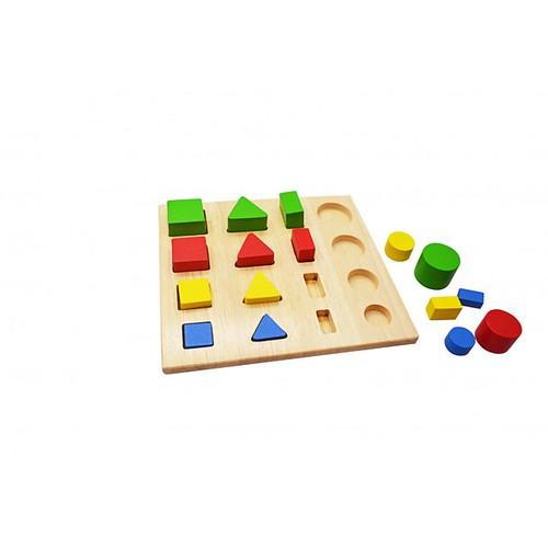 Đồ chơi gỗ - Hình học -  Tấm ghép hình học mẫu 2