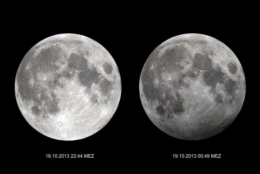 الصورة على اليمين للقمر في حالة خسوف شبه الظل، أما يسارًا فنشاهد القمر بدرًا