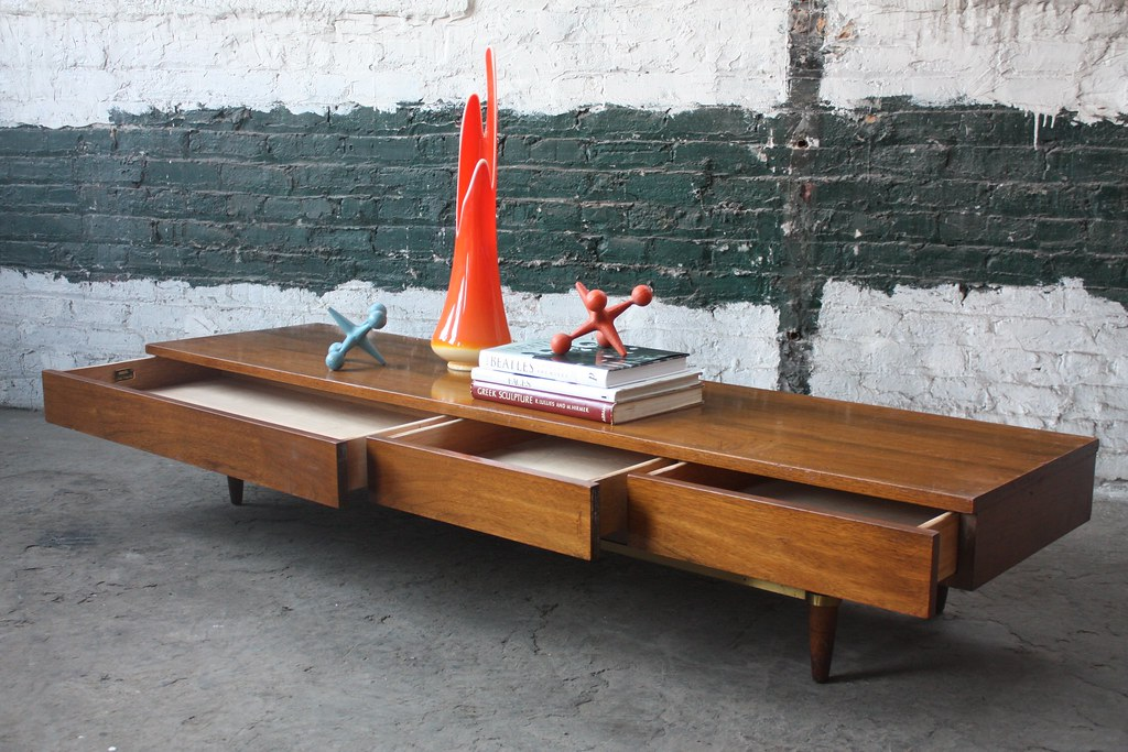 delightful american of dania collection mid century modern bench coffee table low display cabinet