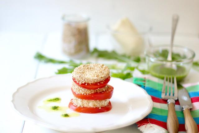 Milhojas de tomate y mozzarella