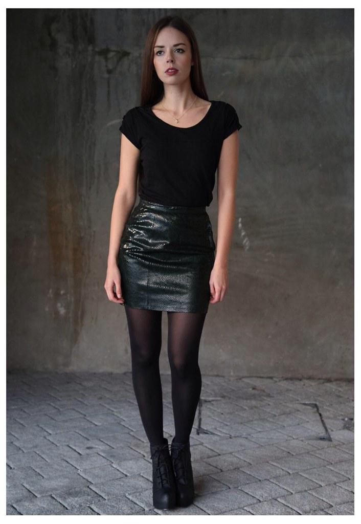 Black shirt & shiny leather skirt | ejt1977 | Flickr